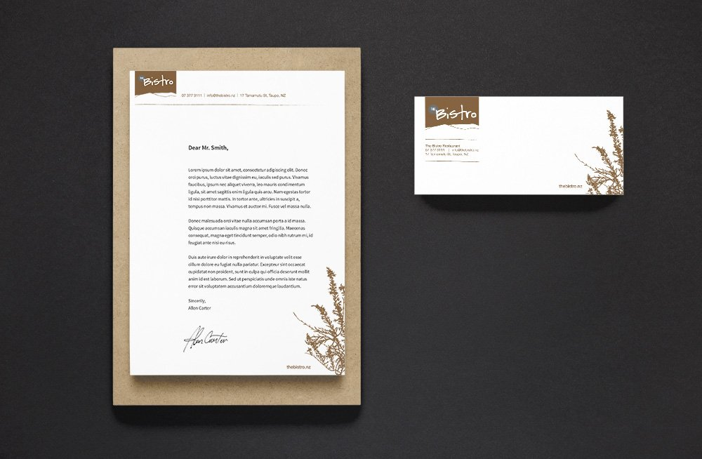 Responsive, Tauranga digital design agency. Client project  - The Bistro, Graphic design, graphic design, stationery