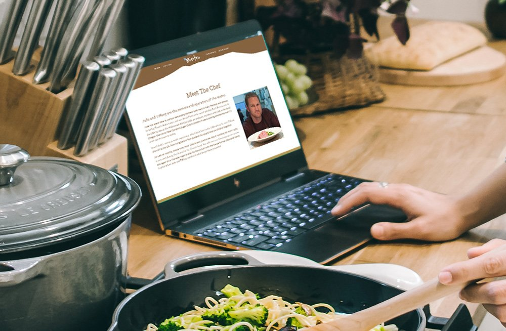 Responsive, Tauranga digital design agency. Client project  - The Bistro, Website design & development, Web hosting, website meet the chef page on laptop