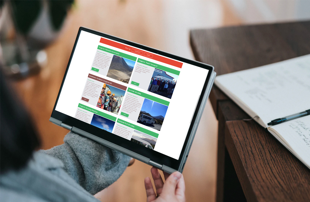 Responsive, Tauranga digital design agency. Client project  - Tongariro Crossing, Website design & development, web hosting, Tongariro Alpine Crossing business listings page on a tablet