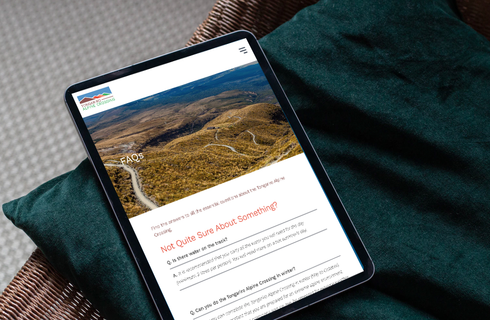 Responsive, Tauranga digital design agency. Client project  - Tongariro Crossing, Website design & development, web hosting, Tongariro Alpine Crossing faq's page on a tablet