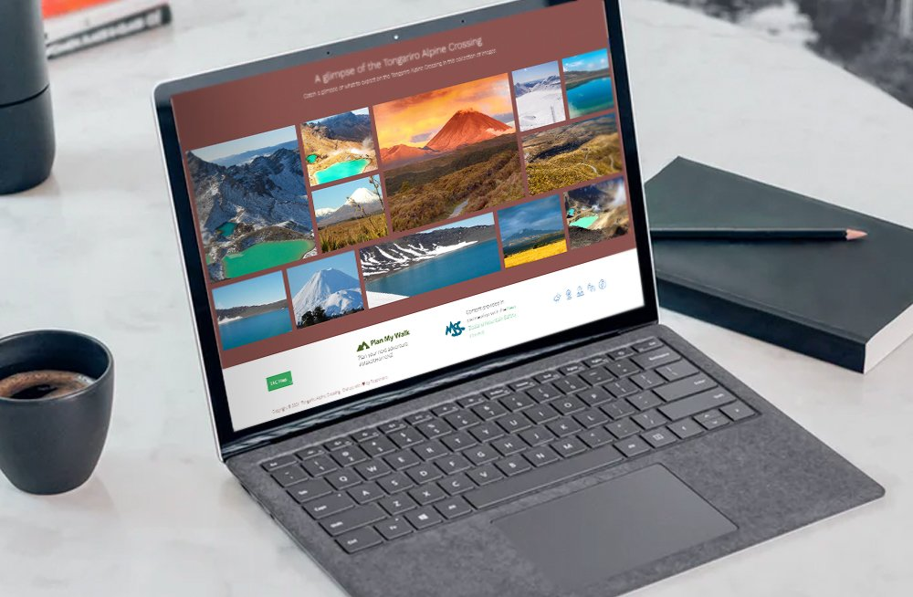 Responsive, Tauranga digital design agency. Client project  - Tongariro Crossing, Website design & development, web hosting, Tongariro Alpine Crossing homepage gallery on a laptop