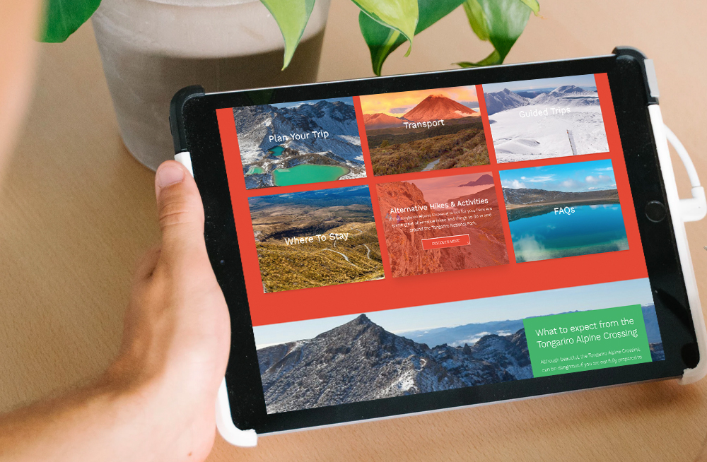 Responsive, Tauranga digital design agency. Client project  - Tongariro Crossing, Website design & development, web hosting, Tongariro Alpine Crossing homepage on a tablet