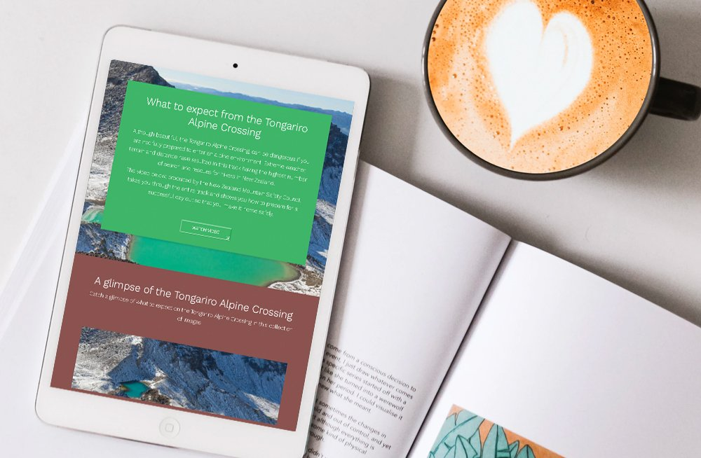 Responsive, Tauranga digital design agency. Client project  - Tongariro Crossing, Website design & development, web hosting, Tongariro Alpine Crossing what to expect section on a tablet