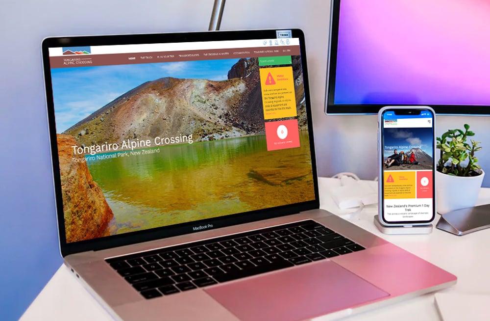 Responsive, Tauranga digital design agency. Client project  - Tongariro Crossing, Website design & development, web hosting, Tongariro Alpine Crossing homepage slider on a laptop